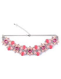 Fashion Plum Red Oval Shape Diamond Decorated Necklace