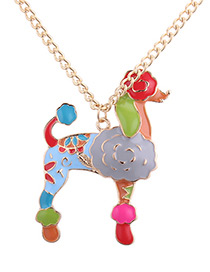 Fashion Multi-color Dog Pendant Decorated Long Necklace