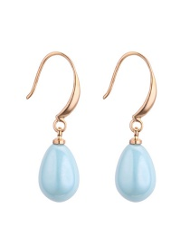 Fashion Blue Pearls Decorated Pure Color Earrings