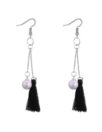 Fashion Black Tassel&pearls Decorated Long Earrings