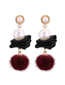 Fashion Black Fuzzy Balls Decorated Long Earrings