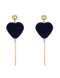 Lovely Sapphire Blue Heart Shape Decorated Earrings