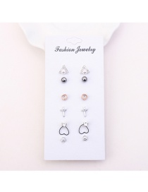 Fashion Silver Color Triangle Shape Decorated Earrings (6pair)