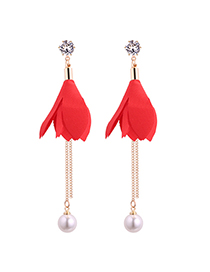 Fashion Red Leaf Shape Decorated Earrings