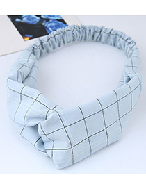 Sweet Blue Grid Pattern Decorated Hair Band