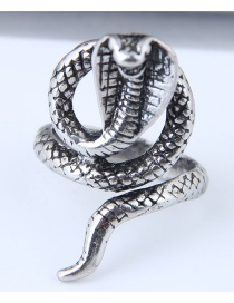 Vintage Antique Silver Pure Color Decorated Snake Shape Ring