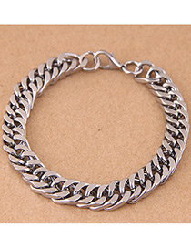 Elegant Silver Color Chains Decorated Pure Color Bracelet
