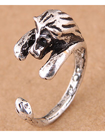 Vintage Antique Silver Lion Shape Design Opening Ring