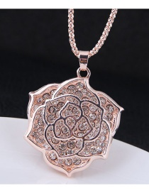 Fashion Rose Gold Flower Pendant Decorated Long Necklace
