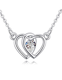 Fashion White Heart Shape Decorated Necklace