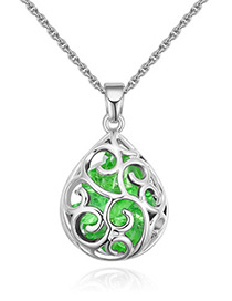 Fashion Green Waterdrop Shape Decorated Necklace