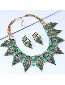 Vintage Green Water Drop Shape Decorated Jewelry Set