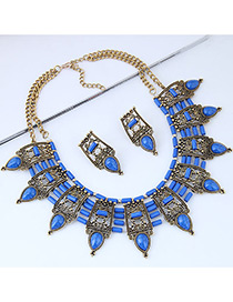Vintage Sapphire Blue Water Drop Shape Decorated Jewelry Set