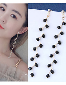 Fashion Black Beads Decorated Long Earrings