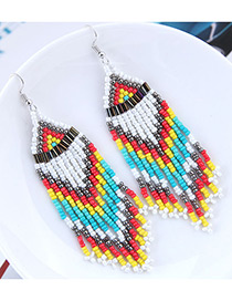 Fashion White+blue Beads Decorated Tassel Design Earrings