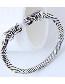 Fashion Silver Color Dragon Shape Design Pure Color Bracelet