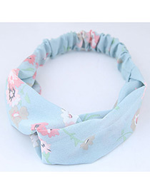 Sweet Blue Flowers Pattern Decorated Wide Hair Band