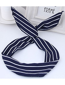 Sweet Navy+white Stripe Pattern Decorated Wide Hair Band