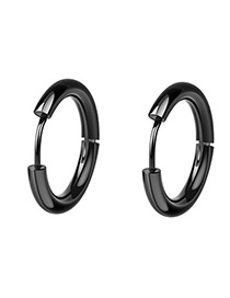 Fashion Black Round Shape Decorated Earrings(10mm)