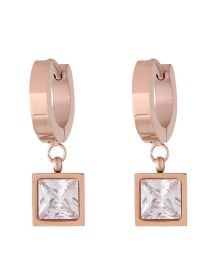 Fashion Rose Gold+white Square Shape Decorated Earrings