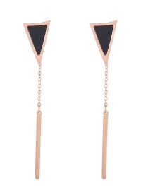 Fashion Rose Gold Triangle Shape Decorated Earrings