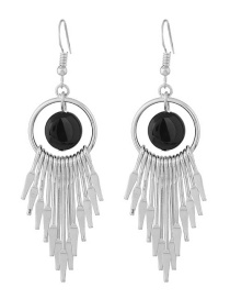 Fashion Silver Color+black Tassel Decorated Earrings