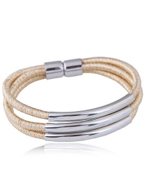 Elegant Gold Oclor Pure Color Design Multi-layer Bracelet