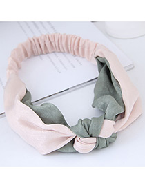 Sweet Pink+green Cross Shape Design Wide Hair Band