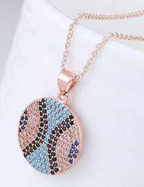 Elegant Rose Gold Round Shape Pendant Decorated Necklace