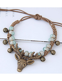Fashion Khaki Deer Head Shape Decorated Bracelet