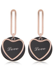 Fashion Rose Gold +black Heart Shape Decorated Earrings