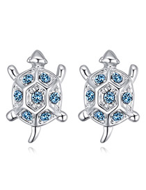 Fashion Blue Tortoise Shape Decorated Earrings