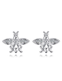Fashion Silver Color Bee Shape Decorated Earrings