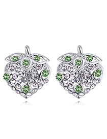 Fashion Green Strawberry Shape Decorated Earrings