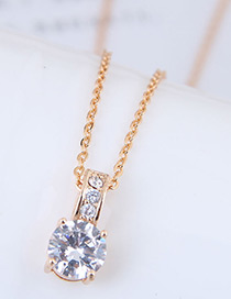 Fashion Gold Color Diamond Decorated Necklace