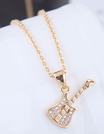 Fashion Gold Color Guitar Shape Decorated Necklace