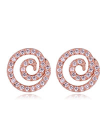 Fashion Rose Gold Vortex Shape Decorated Simple Earrings