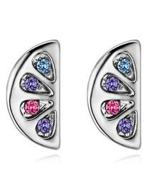 Fashion Multi-color Semicircle Shape Design Simple Earrings