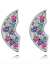 Fashion Multi-color Irregular Shape Decorated Earrings