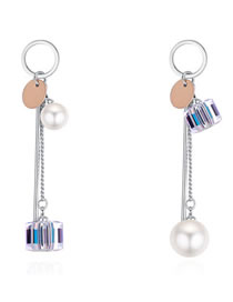 Fashion Multi-color Pearls&magic Cube Decorated Long Earrings