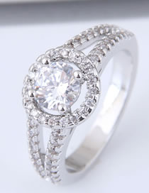 Fashion Silver Color Full Diamond Decorated Hollow Out Ring