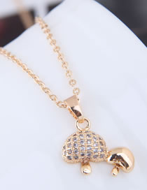 Fashion Gold Color Mushroom Pendant Decorated Necklace