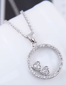 Fashion Silver Color Circular Ring Pendant Decorated Necklace