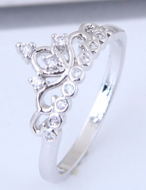 Fashion Silver Color Crown Shape Design Ring