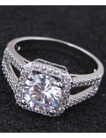 Fashion Silver Color Full Diamond Decorated Square Shape Ring