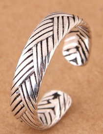 Fashion Silver Color Stripe Pattern Decorated Simple Opening Ring