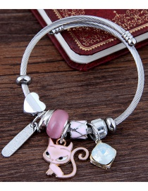 Fashion Pink Cat Shape Decorated Bracelet