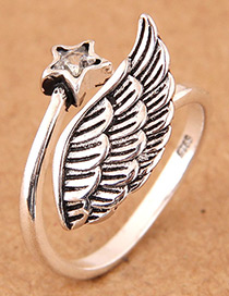 Vintage Silver Color Wing Shape Design Opening Ring