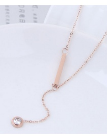 Fashion Rose Gold Diamond Decorated Necklace