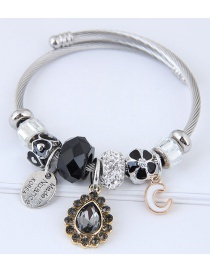 Fashion Black Waterdrop Shape Decorated Bracelet